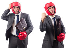 Young businessman with briefcase and box gloves  isolated on whi Royalty Free Stock Photo