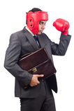 Young businessman with briefcase and box gloves. Isolated on white Royalty Free Stock Photography