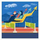 Young businessman or broker jumping over career obstacles. Succe Royalty Free Stock Images