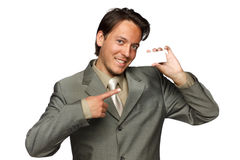 Young businessman with business card Stock Image