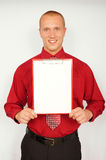 Young businessman with business card Stock Photos