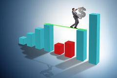 The young businessman in business concept with bar charts vector illustration