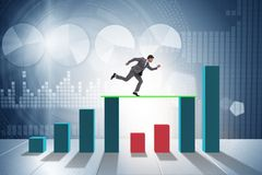 The young businessman in business concept with bar charts royalty free illustration