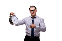 The young businessman in business concept isolated on white Stock Photography
