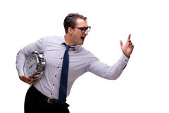 The young businessman in business concept isolated on white Stock Image