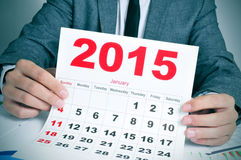 Young businessman with a 2015 calendar Stock Photography