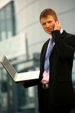 Young businessman calling on mobile. Phone, outdoor stock images