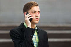 Young businessman calling on the mobile phone Stock Photos