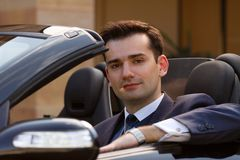 Young businessman in canrio Royalty Free Stock Photos