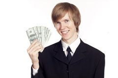 Young businessman with cash Stock Images