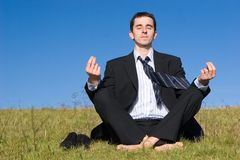 Young businessman catching the balance. On a meadow royalty free stock photos