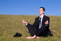 Young businessman catching the balance. On a meadow stock images