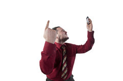 Young businessman celebrates the victory Royalty Free Stock Images