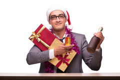 The young businessman celebrating christmas in office Stock Image