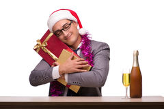 The young businessman celebrating christmas in office Stock Images