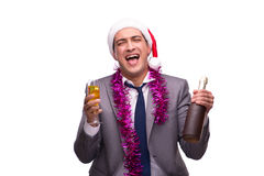 The young businessman celebrating christmas in office Royalty Free Stock Photo
