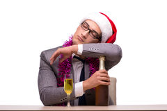 The young businessman celebrating christmas in office Stock Photos