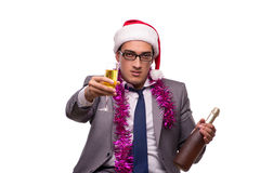The young businessman celebrating christmas in office Stock Photo