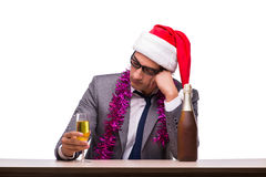 The young businessman celebrating christmas in office Royalty Free Stock Image
