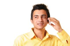 Young Businessman with cell phone Royalty Free Stock Photo