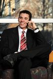 Young Businessman on the cell phone Stock Photos