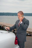 Young Businessman on Cellphone Stock Photos