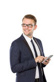 Young businessman with a cellphone on his hand Stock Photography