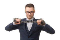 Young businessman with chains on  hands Royalty Free Stock Photos