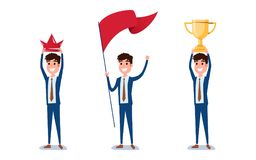 Young businessman character design. Set of guy acting in suit holds crown, flag, trophy of success, Different emotions, poses. And running, walking, standing Royalty Free Stock Photography