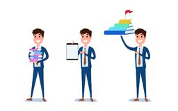 Young businessman character design. Set of guy acting in suit working in office, Different emotions, poses and running, walking. Standing, sitting. Cartoon Stock Images