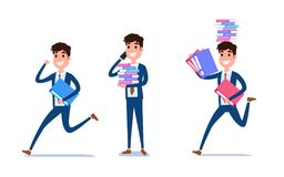 Young businessman character design. Set of guy acting in suit working in office, Different emotions, poses and running, walking. Standing, sitting. Cartoon Stock Photo