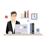 Young businessman character sitting at the computer desk with laptop and working, daily life of office employee vector Stock Photos