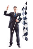 Young Businessman and checkered flag Stock Photo