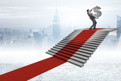 The young businessman climbing stairs and red carpet. Young businessman climbing stairs and red carpet Stock Photos