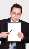 Young businessman with clipboard Stock Photography