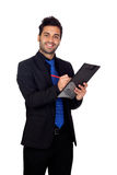 Young businessman with blue tie with a clipboard Stock Photos