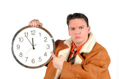 Young businessman with clock Stock Photos