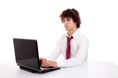 Young businessman on the computer Stock Images