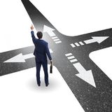 The young businessman at crossroads in uncertainty concept Royalty Free Stock Photography