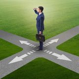 The young businessman at crossroads in uncertainty concept Royalty Free Stock Photo