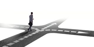 The young businessman at crossroads in uncertainty concept. Young businessman at crossroads in uncertainty concept Royalty Free Stock Photos