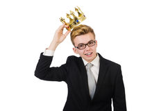Young businessman with crown isolated on white Stock Images