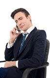 Young businessman crying on the phone. Stock Images