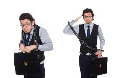 The young businessman with cuffs isolated on white. Young businessman with cuffs isolated on white stock photography