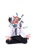 Young businessman and data Royalty Free Stock Images