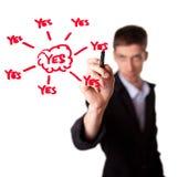 Young businessman decide for positive decision Stock Photos