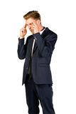 Young businessman in despair clutched his head. Crisis concept Stock Images