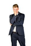 Young businessman in despair clutched his head. Stock Photos
