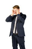 Young businessman in despair clutched his head. Crisis concept Stock Photos