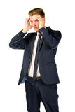 Young businessman in despair clutched his head. Stock Photography